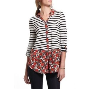 [Anthropologie] Borders Floral Striped Button Down